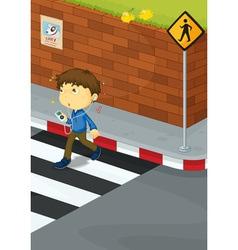 Boy crossing road vector