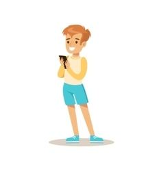 Boy With Smartphone Child And Gadget vector