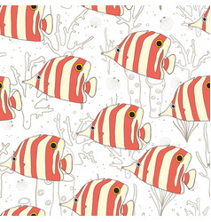 butterflyfish swimming on reef seamless pattern vector image