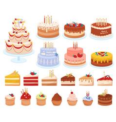 Cartoon cakes set vector