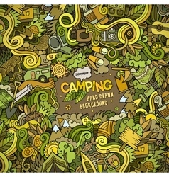 Cartoon Camping frame background vector