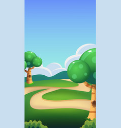 cartoon nature landscape bright sunny day vector image