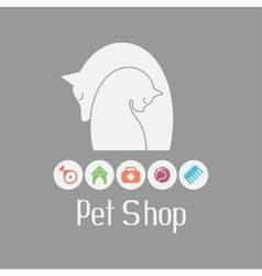 Cat and dog tender embrace pet shop logo what vector image