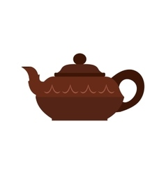 Chinese brown teapot icon flat style vector