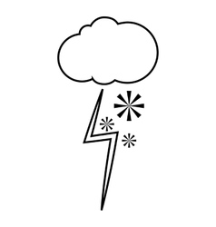 Cloud with snow and lightning icon outline style vector image