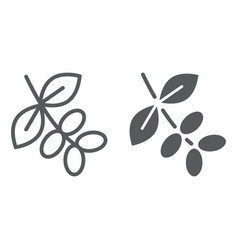 Coffee tree branch line and glyph icon coffee vector