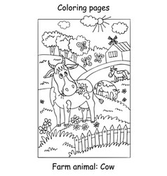 coloring cow vector image