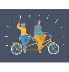 couple riding on tandem bicycle vector image