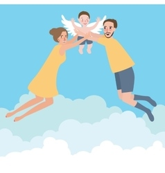 couple with their baby family flying wings happy vector image