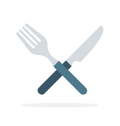 crossed fork and knife flat isolated vector image