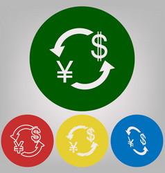 Currency exchange sign japan yen and us dollar vector