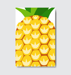 cut pineapple template card slice fresh fruit vector image