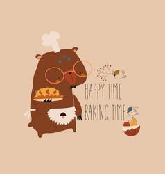 cute cartoon funny bear with homemade cake vector image