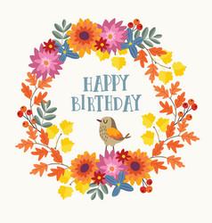 Cute hand drawn autumn birthday greeting card vector