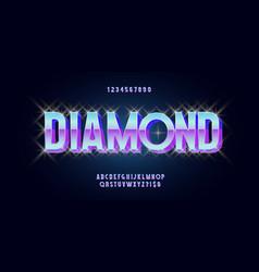 diamond font 3d bold style vector image