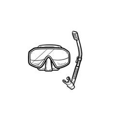 diving mask with snorkel hand drawn outline doodle vector image
