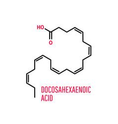 Docosahexaenoic acid skeletal chemical formula vector