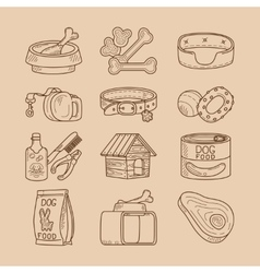 Dog doodle signs food and toys vector