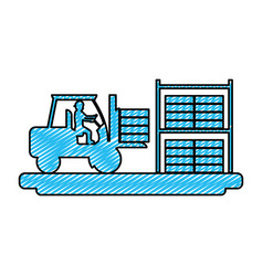 Doodle laborer with construction forlift equipment vector