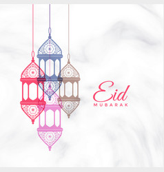 Eid mubarak hanging lamps greeting vector
