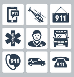emergency service icons set vector image