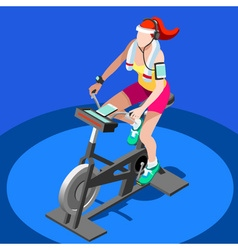 Exercise Bike Spinning Gym Class 3D Image vector image