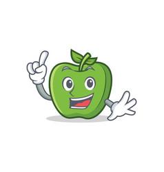 finger green apple character cartoon vector image vector image