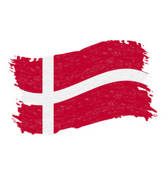 flag of denmark grunge abstract brush stroke vector image