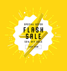 flash sale with thunder banner template design vector image
