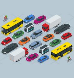 Flat 3d isometric high quality city transport car vector