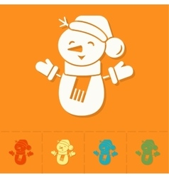 Funny Snowman With Scarf vector image