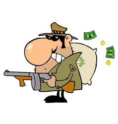 Gangster Man with his Gun and Bag of Money vector