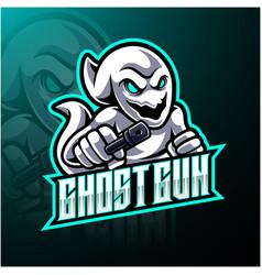 Ghost with gun esport mascot logo design vector