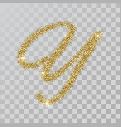gold glitter powder letter y in hand painted style vector image
