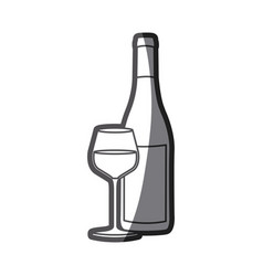 Grayscale silhouette with bottle of wine and vector