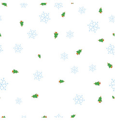 green christmas tree and snowflake seamless vector image