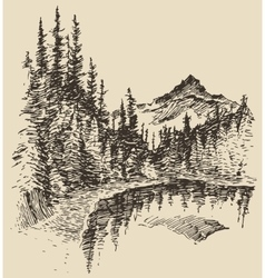 Hand drawn landscape lake and fir forest sketch vector