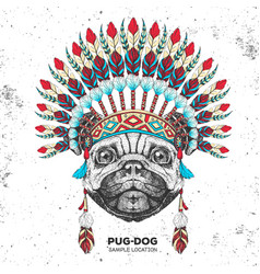 Hipster animal dog with indian feather headdress vector