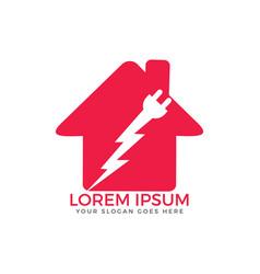 house plug and thunderbolt logo vector image