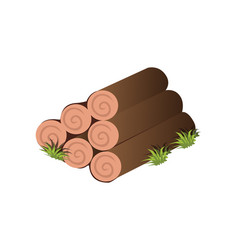 isometric cartoon tree logs of timber - tileset vector image