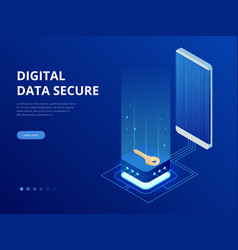 Isometric internet security lock transferring data vector