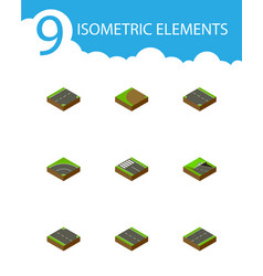 Isometric road set of rightward strip downward vector