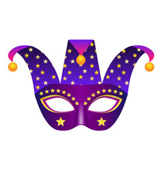 Jester mask icon realistic style vector