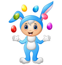 kids in rabbit costume with easter eggs flying vector image