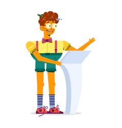 Kinky teen boy in suspender shorts says vector