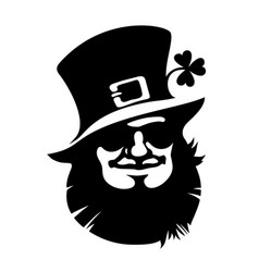 leprechaun smiling face icon with hat sunglasses vector image