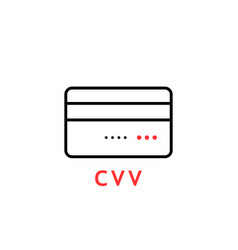linear thin line credit card with cvv vector image