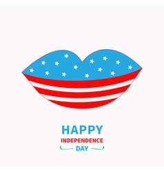 Lips with stars and strips Independence day vector image