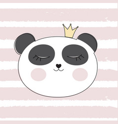 little cute panda princess vector image