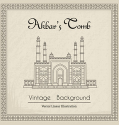 Main gate to the akbars tomb vintage background vector